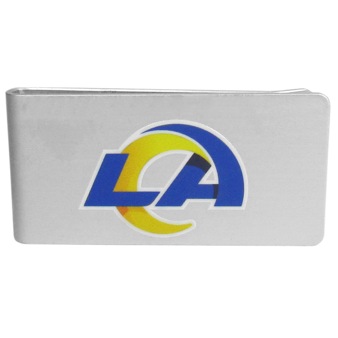 Los Angeles Rams Logo Money Clip - Our brushed metal money clip has classic style and functionality. The attractive clip features the Los Angeles Rams logo expertly printed on front.