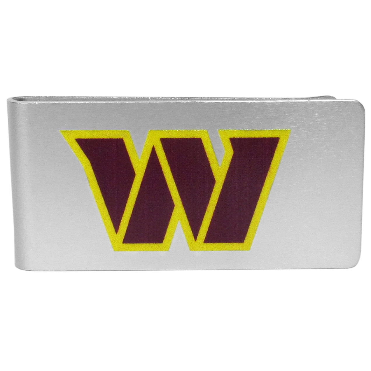 Washington Redskins Logo Money Clip - Our brushed metal money clip has classic style and functionality. The attractive clip features the Washington Redskins logo expertly printed on front.