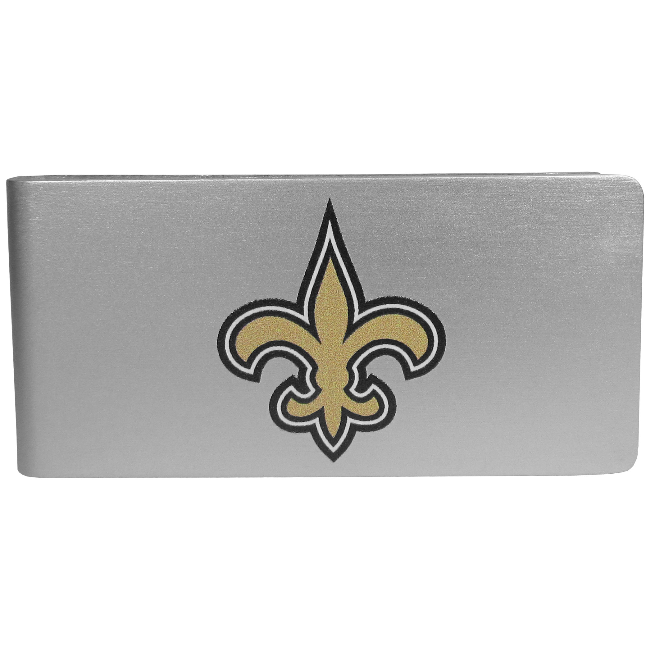 New Orleans Saints Logo Money Clip - Our brushed metal money clip has classic style and functionality. The attractive clip features the New Orleans Saints logo expertly printed on front.