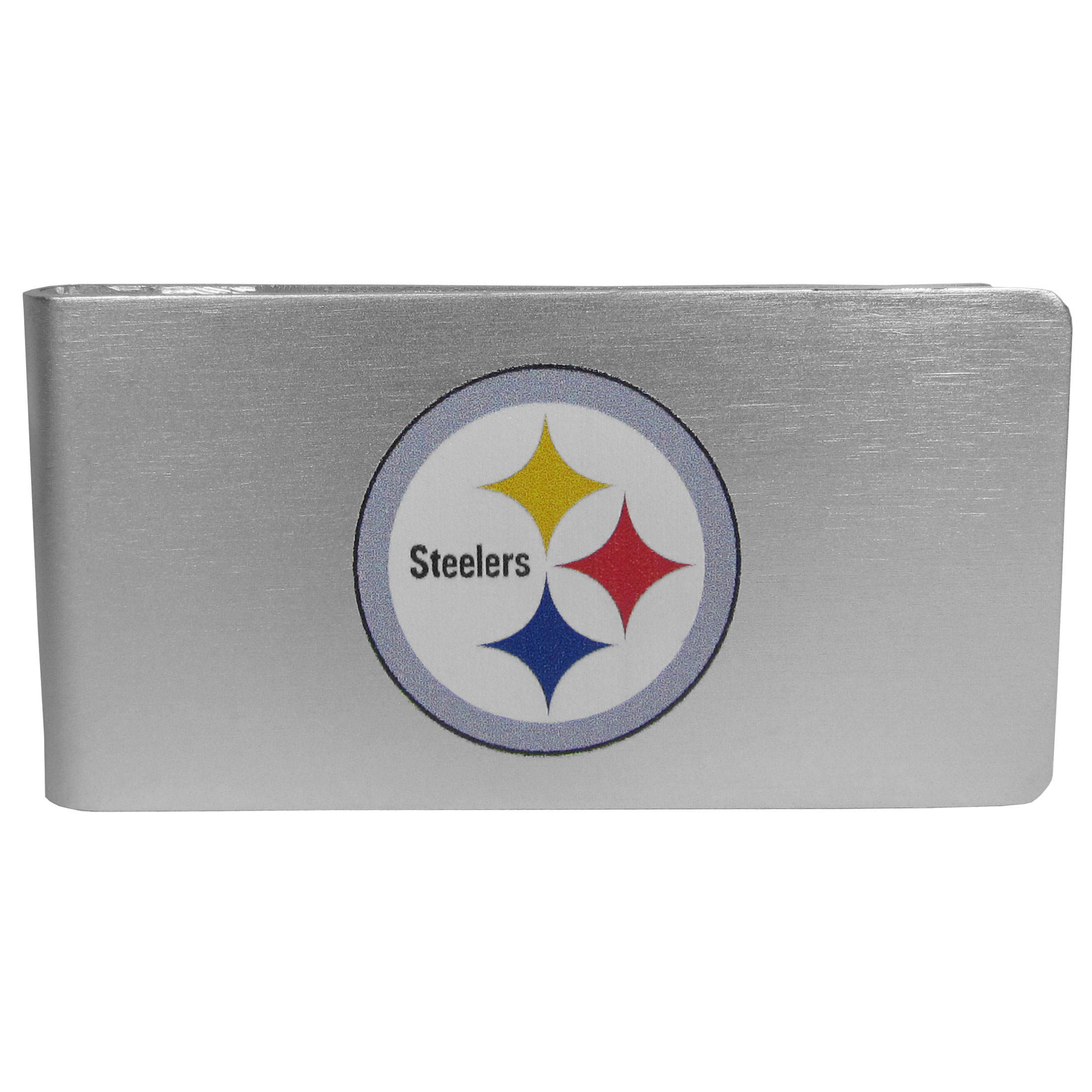 Pittsburgh Steelers Logo Money Clip - Our brushed metal money clip has classic style and functionality. The attractive clip features the Pittsburgh Steelers logo expertly printed on front.