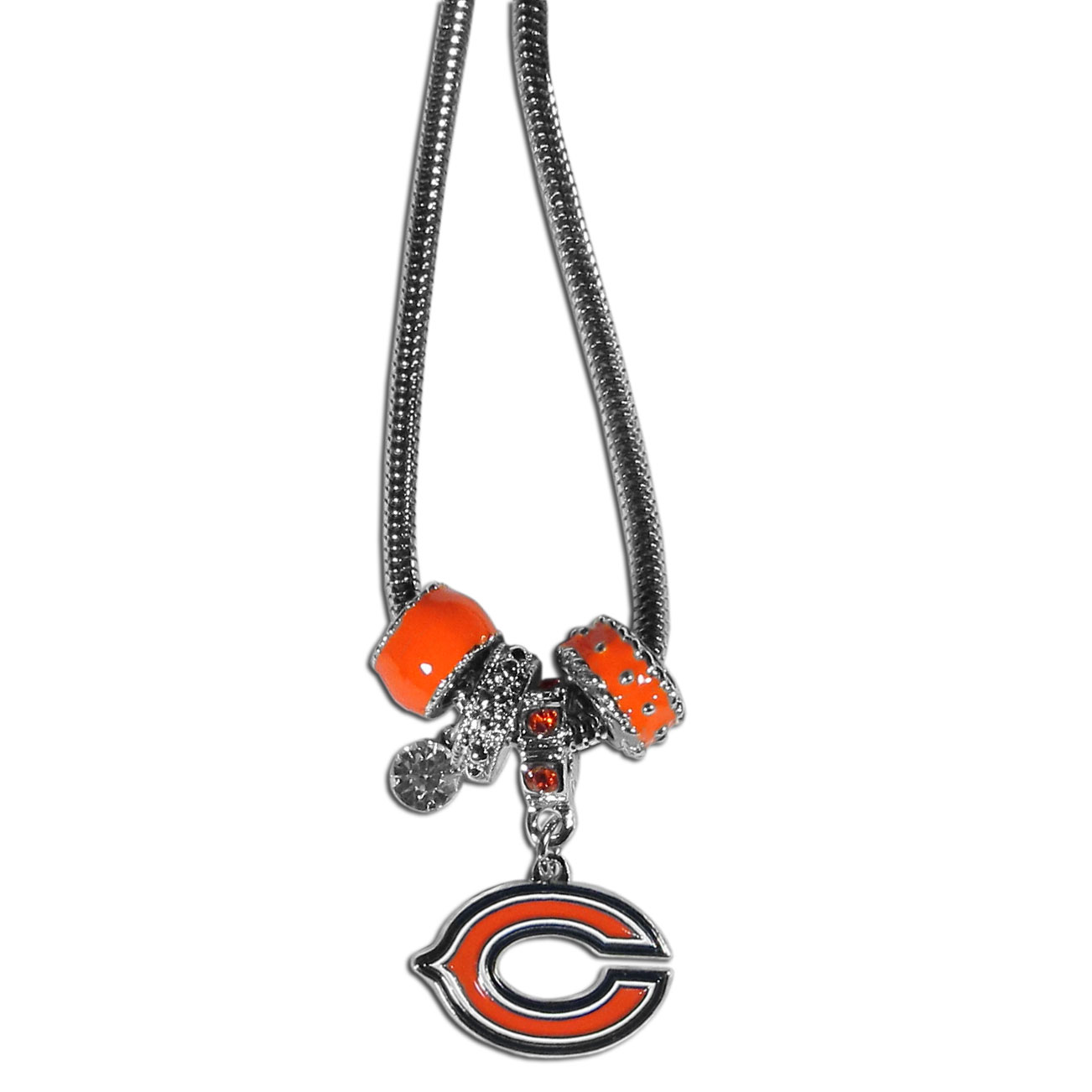 Chicago Bears Euro Bead Necklace - We have combined the wildly popular Euro style beads with your favorite team to create our Chicago Bears bead necklace. The 18 inch snake chain features 4 Euro beads with enameled team colors and rhinestone accents with a high polish, nickel free charm and rhinestone charm. Perfect way to show off your team pride.