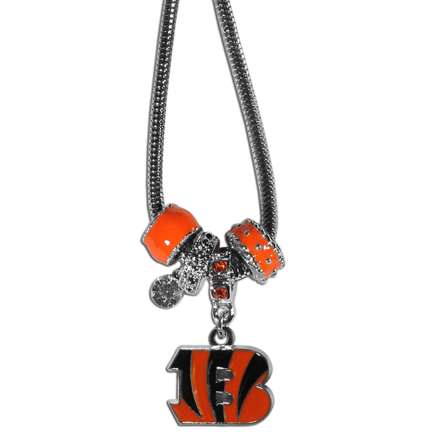 Cincinnati Bengals Euro Bead Necklace - We have combined the wildly popular Euro style beads with your favorite team to create our Cincinnati Bengals bead necklace. The 18 inch snake chain features 4 Euro beads with enameled team colors and rhinestone accents with a high polish, nickel free charm and rhinestone charm. Perfect way to show off your team pride.