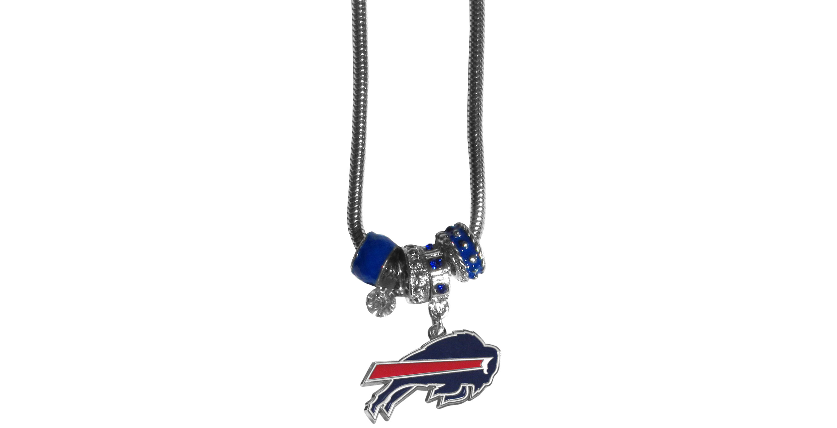 Buffalo Bills Euro Bead Necklace - We have combined the wildly popular Euro style beads with your favorite team to create our Buffalo Bills bead necklace. The 18 inch snake chain features 4 Euro beads with enameled team colors and rhinestone accents with a high polish, nickel free charm and rhinestone charm. Perfect way to show off your team pride.