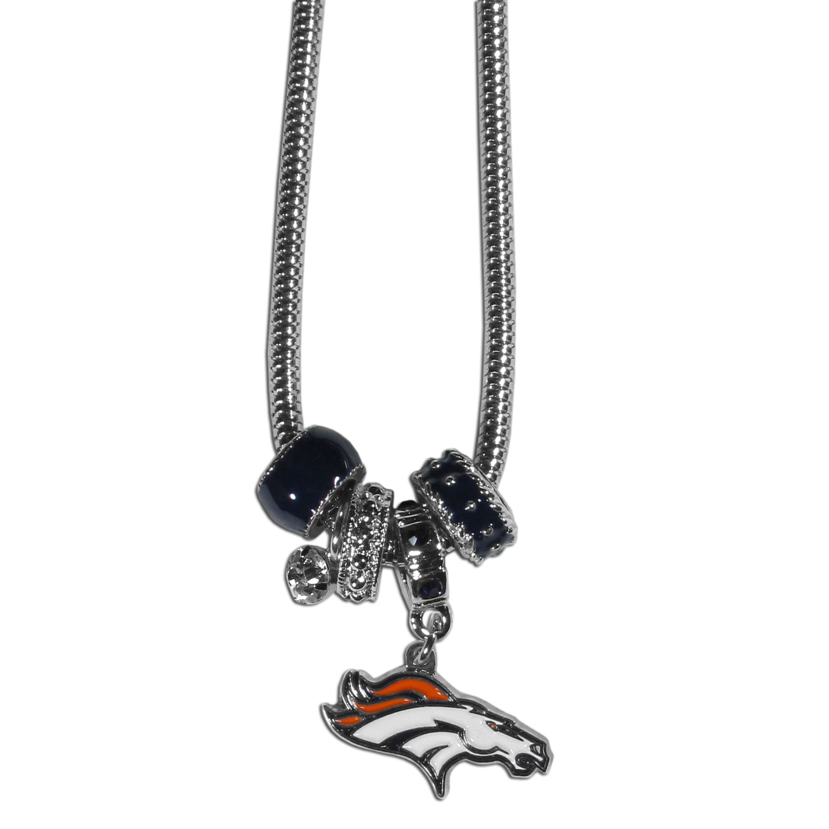 Denver Broncos Euro Bead Necklace - We have combined the wildly popular Euro style beads with your favorite team to create our Denver Broncos bead necklace. The 18 inch snake chain features 4 Euro beads with enameled team colors and rhinestone accents with a high polish, nickel free charm and rhinestone charm. Perfect way to show off your team pride.
