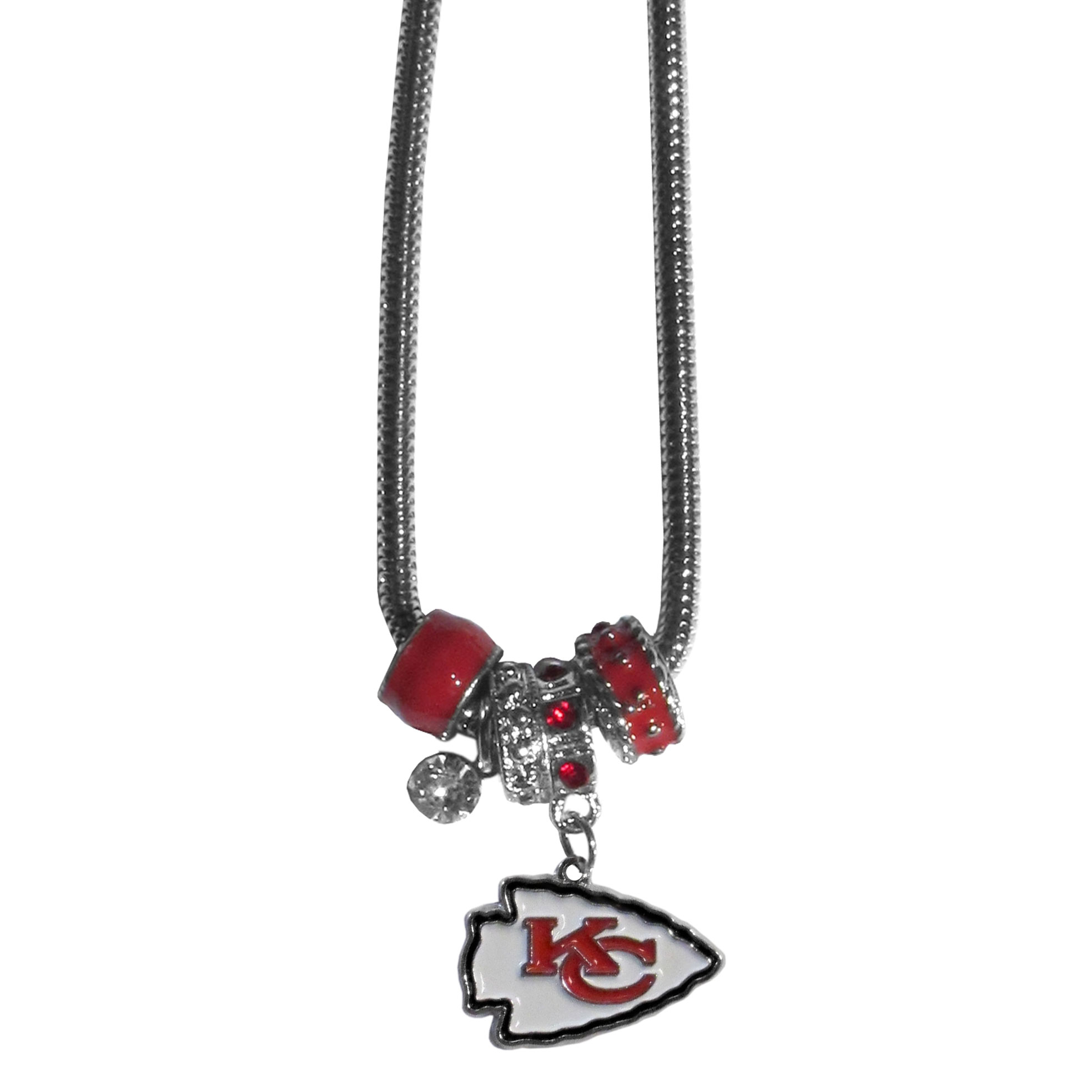 Kansas City Chiefs Euro Bead Necklace - We have combined the wildly popular Euro style beads with your favorite team to create our Kansas City Chiefs bead necklace. The 18 inch snake chain features 4 Euro beads with enameled team colors and rhinestone accents with a high polish, nickel free charm and rhinestone charm. Perfect way to show off your team pride.