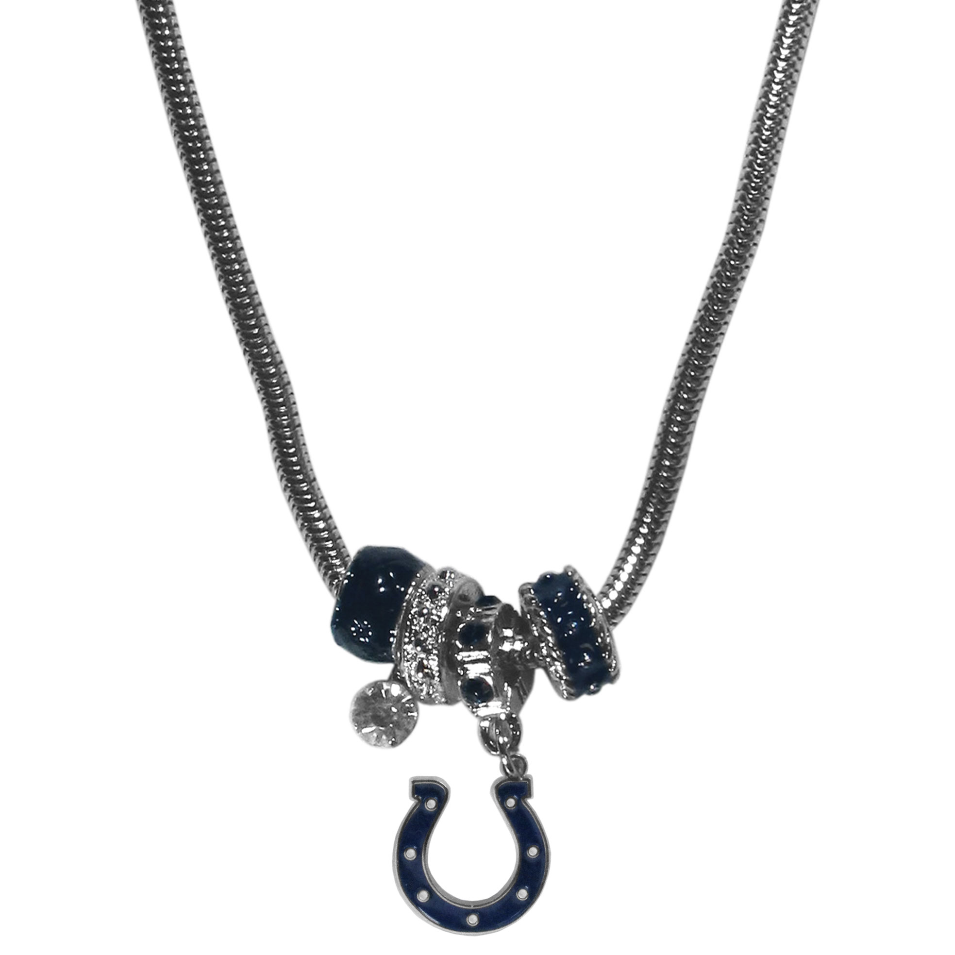 Indianapolis Colts Euro Bead Necklace - We have combined the wildly popular Euro style beads with your favorite team to create our Indianapolis Colts bead necklace. The 18 inch snake chain features 4 Euro beads with enameled team colors and rhinestone accents with a high polish, nickel free charm and rhinestone charm. Perfect way to show off your team pride.