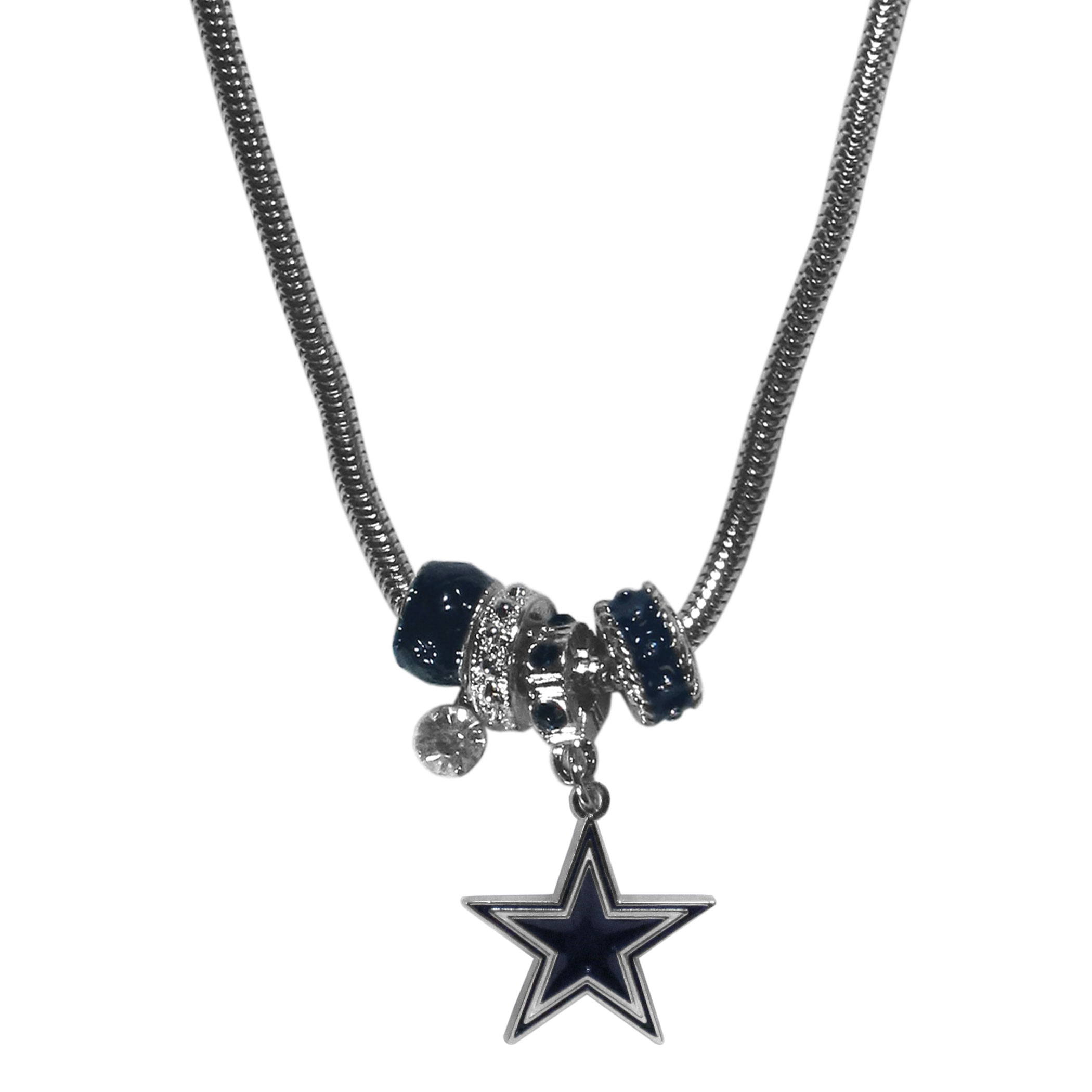 Dallas Cowboys Euro Bead Necklace - We have combined the wildly popular Euro style beads with your favorite team to create our Dallas Cowboys bead necklace. The 18 inch snake chain features 4 Euro beads with enameled team colors and rhinestone accents with a high polish, nickel free charm and rhinestone charm. Perfect way to show off your team pride.