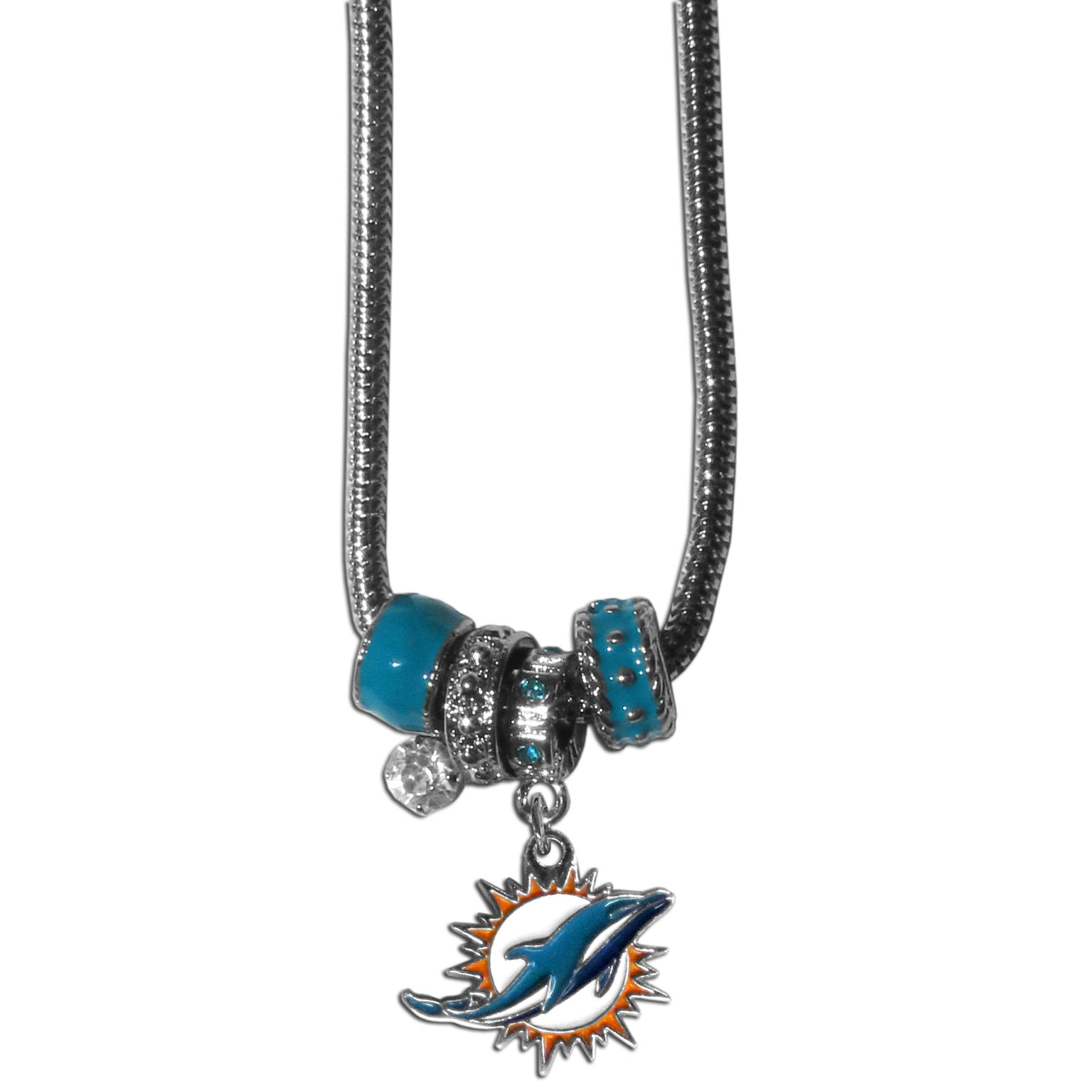 Miami Dolphins Euro Bead Necklace - We have combined the wildly popular Euro style beads with your favorite team to create our Miami Dolphins bead necklace. The 18 inch snake chain features 4 Euro beads with enameled team colors and rhinestone accents with a high polish, nickel free charm and rhinestone charm. Perfect way to show off your team pride.