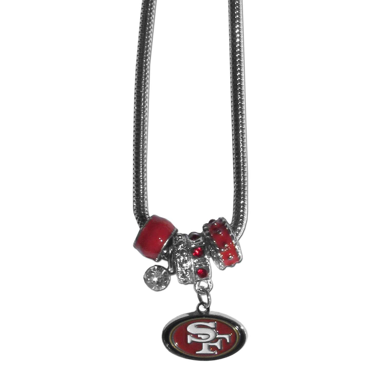 San Francisco 49ers Euro Bead Necklace - We have combined the wildly popular Euro style beads with your favorite team to create our San Francisco 49ers bead necklace. The 18 inch snake chain features 4 Euro beads with enameled team colors and rhinestone accents with a high polish, nickel free charm and rhinestone charm. Perfect way to show off your team pride.