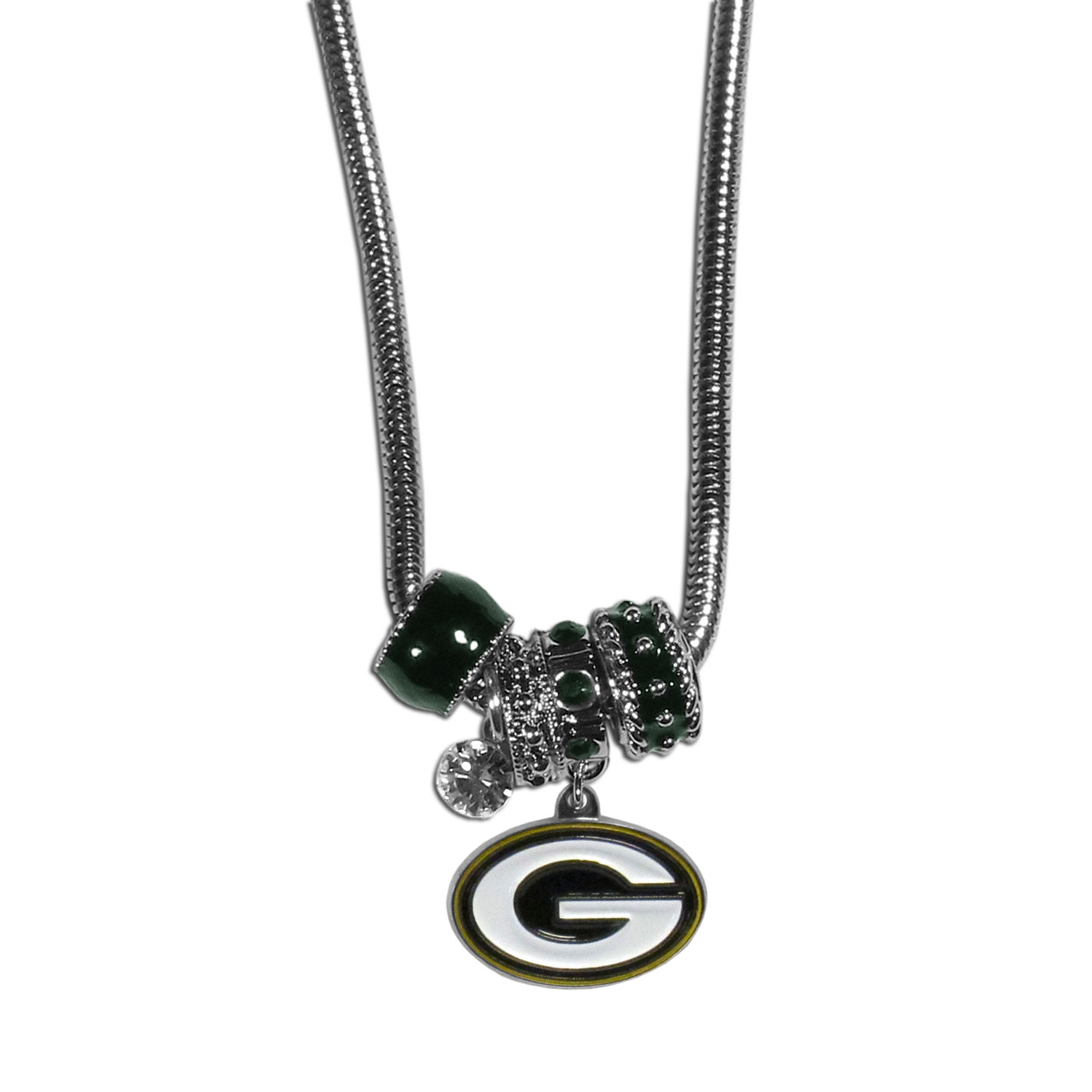 Green Bay Packers Euro Bead Necklace - We have combined the wildly popular Euro style beads with your favorite team to create our Green Bay Packers bead necklace. The 18 inch snake chain features 4 Euro beads with enameled team colors and rhinestone accents with a high polish, nickel free charm and rhinestone charm. Perfect way to show off your team pride.