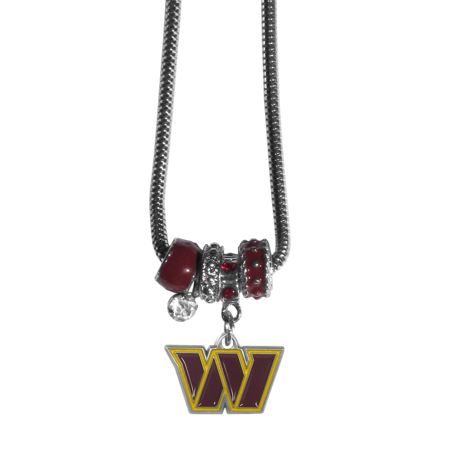Washington Redskins Euro Bead Necklace - We have combined the wildly popular Euro style beads with your favorite team to create our Washington Redskins bead necklace. The 18 inch snake chain features 4 Euro beads with enameled team colors and rhinestone accents with a high polish, nickel free charm and rhinestone charm. Perfect way to show off your team pride.