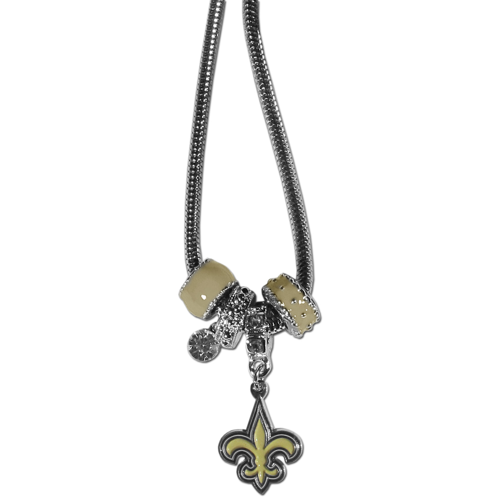 New Orleans Saints Euro Bead Necklace - We have combined the wildly popular Euro style beads with your favorite team to create our New Orleans Saints bead necklace. The 18 inch snake chain features 4 Euro beads with enameled team colors and rhinestone accents with a high polish, nickel free charm and rhinestone charm. Perfect way to show off your team pride.