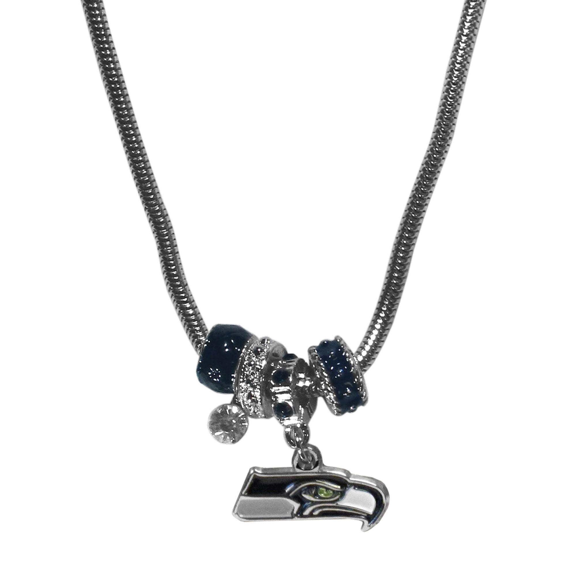 Seattle Seahawks Euro Bead Necklace - We have combined the wildly popular Euro style beads with your favorite team to create our Seattle Seahawks bead necklace. The 18 inch snake chain features 4 Euro beads with enameled team colors and rhinestone accents with a high polish, nickel free charm and rhinestone charm. Perfect way to show off your team pride.