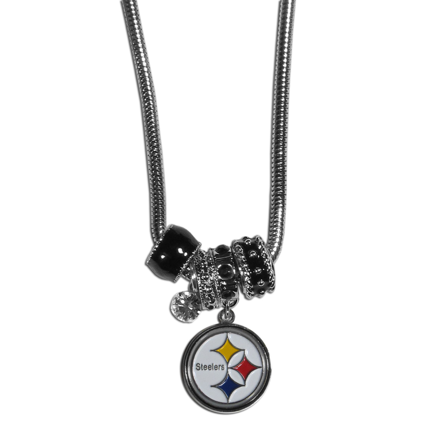 Pittsburgh Steelers Euro Bead Necklace - We have combined the wildly popular Euro style beads with your favorite team to create our Pittsburgh Steelers bead necklace. The 18 inch snake chain features 4 Euro beads with enameled team colors and rhinestone accents with a high polish, nickel free charm and rhinestone charm. Perfect way to show off your team pride.