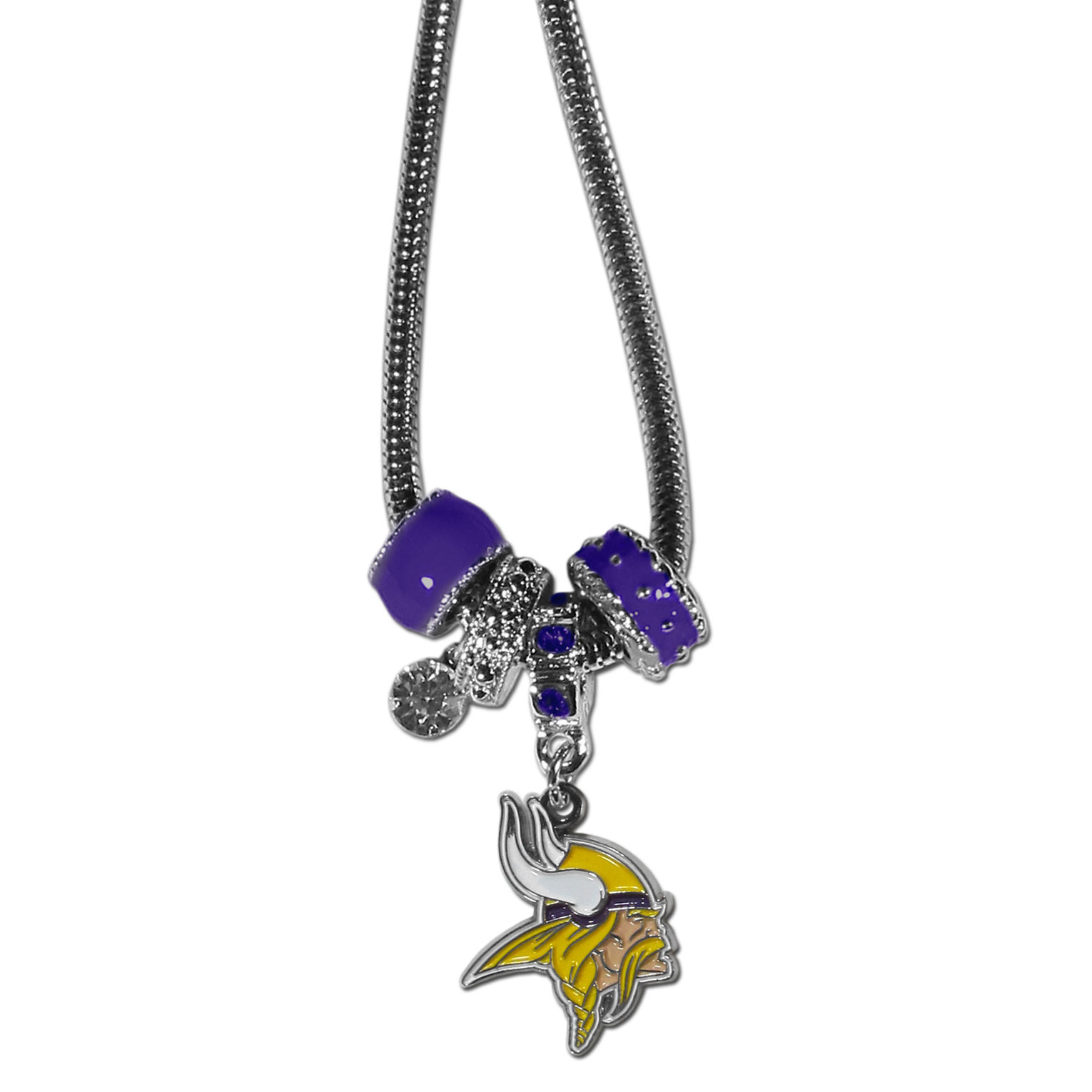 Minnesota Vikings Euro Bead Necklace - We have combined the wildly popular Euro style beads with your favorite team to create our Minnesota Vikings bead necklace. The 18 inch snake chain features 4 Euro beads with enameled team colors and rhinestone accents with a high polish, nickel free charm and rhinestone charm. Perfect way to show off your team pride.