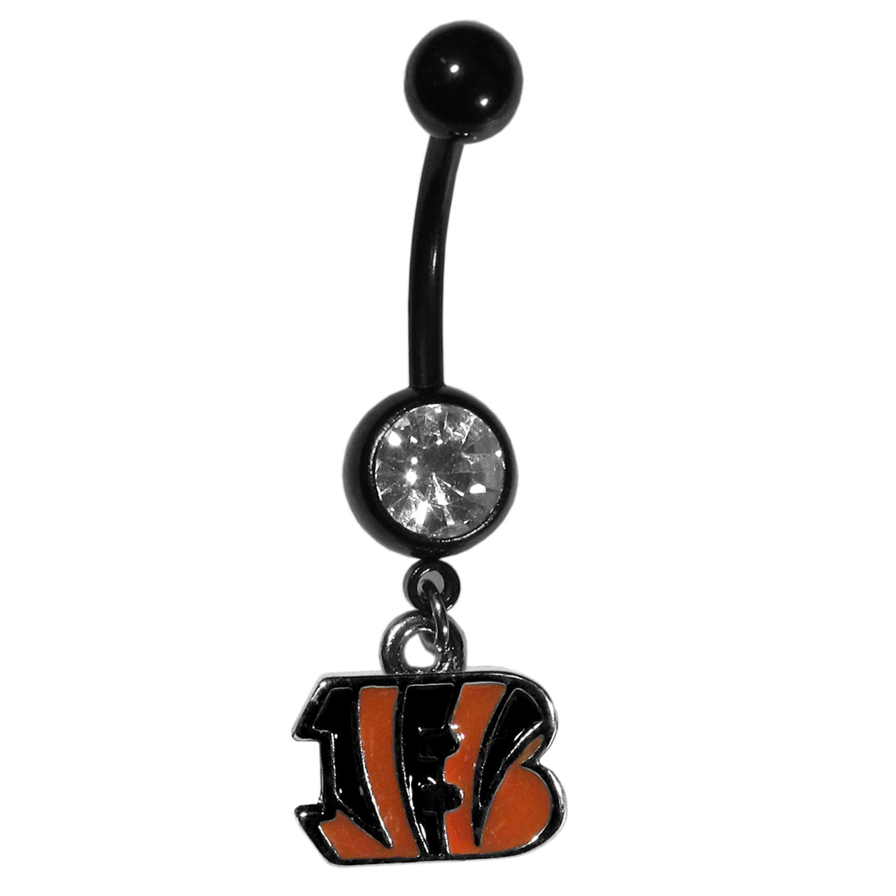 Cincinnati Bengals Navel Ring - Let the world know you're a fan with our officially licensed Cincinnati Bengals belly ring in vibrant team colors with a large, team colored crystal. The 14 gauge navel ring is 316L Surgical Stainless steel has a team dangle charm.
