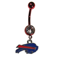 Buffalo Bills Navel Ring - Let the world know you're a fan with our officially licensed Buffalo Bills belly ring in vibrant team colors with a large, team colored crystal. The 14 gauge navel ring is 316L Surgical Stainless steel has a team dangle charm. Officially licensed NFL product Licensee: Siskiyou Buckle .com
