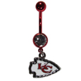 Kansas City Chiefs Navel Ring - Let the world know you're a fan with our officially licensed Kansas City Chiefs belly ring in vibrant team colors with a large, team colored crystal. The 14 gauge navel ring is 316L Surgical Stainless steel has a team dangle charm. Officially licensed NFL product Licensee: Siskiyou Buckle Thank you for visiting CrazedOutSports.com