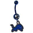 Detroit Lions Navel Ring - Let the world know you're a fan with our officially licensed Detroit Lions belly ring in vibrant team colors with a large, team colored crystal. The 14 gauge navel ring is 316L Surgical Stainless steel has a team dangle charm. Officially licensed NFL product Licensee: Siskiyou Buckle .com