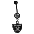 Oakland Raiders Navel Ring - Let the world know you're a fan with our officially licensed Oakland Raiders belly ring in vibrant team colors with a large, team colored crystal. The 14 gauge navel ring is 316L Surgical Stainless steel has a team dangle charm. Officially licensed NFL product Licensee: Siskiyou Buckle Thank you for visiting CrazedOutSports.com