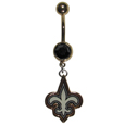 New Orleans Saints Navel Ring - Let the world know you're a fan with our officially licensed New Orleans Saints belly ring in vibrant team colors with a large, team colored crystal. The 14 gauge navel ring is 316L Surgical Stainless steel has a team dangle charm. Officially licensed NFL product Licensee: Siskiyou Buckle .com