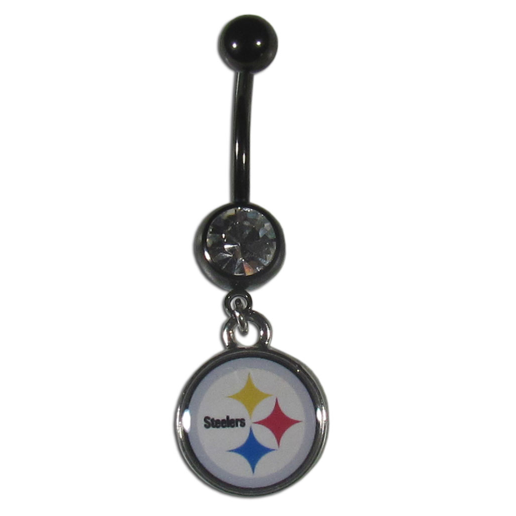 Pittsburgh Steelers Navel Ring - Let the world know you're a fan with our officially licensed Pittsburgh Steelers belly ring in vibrant team colors with a large, team colored crystal. The 14 gauge navel ring is 316L Surgical Stainless steel has a team dangle charm.