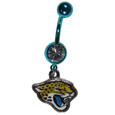 Jacksonville Jaguars Navel Ring - Let the world know you're a fan with our officially licensed Jacksonville Jaguars belly ring in vibrant team colors with a large, team colored crystal. The 14 gauge navel ring is 316L Surgical Stainless steel has a team dangle charm. Officially licensed NFL product Licensee: Siskiyou Buckle Thank you for visiting CrazedOutSports.com