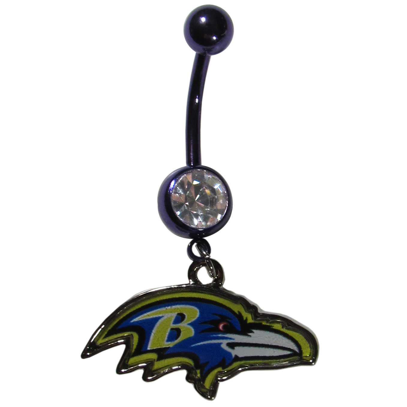 Baltimore Ravens Navel Ring - Let the world know you're a fan with our officially licensed Baltimore Ravens belly ring in vibrant team colors with a large, team colored crystal. The 14 gauge navel ring is 316L Surgical Stainless steel has a team dangle charm.