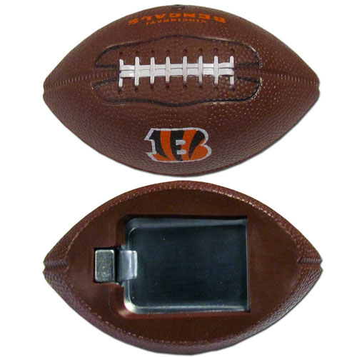 "Cincinnati Bengals Bottle Opener Magnet - Our footballer Cincinnati Bengals bottle opener magnets are 3.5"" 3D football magnets with bottle openers. The football replica magnets keep a bottle opener in handy while showing off your team pride! Officially licensed NFL product Licensee: Siskiyou Buckle .com"