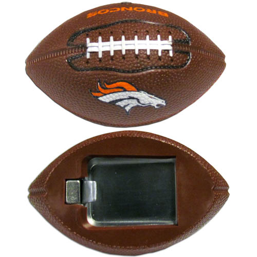 "Denver Broncos Bottle Opener Magnet - Our footballer Denver Broncos bottle opener magnets are 3.5"" 3D football magnets with bottle openers. The football replica magnets keep a bottle opener in handy while showing off your team pride! Officially licensed NFL product Licensee: Siskiyou Buckle Thank you for visiting CrazedOutSports.com"