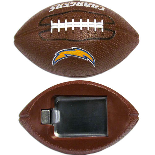 "Los Angeles Chargers Bottle Opener Magnet - Our footballer Los Angeles Chargers bottle opener magnets are 3.5"" 3D football magnets with bottle openers. The football replica magnets keep a bottle opener in handy while showing off your Los Angeles Chargers pride! Officially licensed NFL product Licensee: Siskiyou Buckle .com"