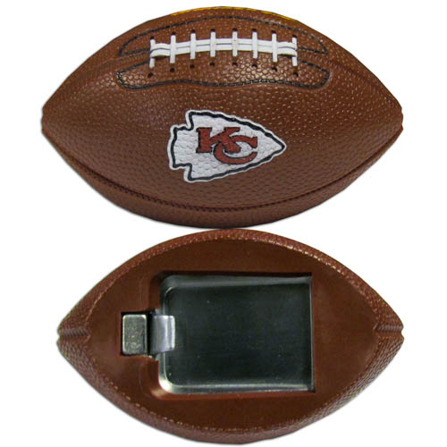 "Kansas City Chiefs Bottle Opener Magnet - Our footballer Kansas City Chiefs bottle opener magnets are 3.5"" 3D football magnets with bottle openers. The football replica magnets keep a bottle opener in handy while showing off your team pride! Officially licensed NFL product Licensee: Siskiyou Buckle Thank you for visiting CrazedOutSports.com"