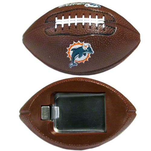 "Miami Dolphins Bottle Opener Magnet - Our footballer Miami Dolphins bottle opener magnets are 3.5"" 3D football magnets with bottle openers. The football replica magnets keep a bottle opener in handy while showing off your team pride! Officially licensed NFL product Licensee: Siskiyou Buckle .com"