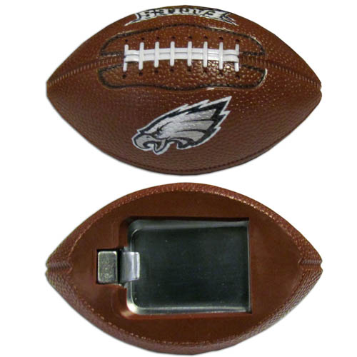 "Philadelphia Eagles Bottle Opener Magnet - Our footballer Philadelphia Eagles bottle opener magnets are 3.5"" 3D football magnets with bottle openers. The football replica magnets keep a bottle opener in handy while showing off your team pride! Officially licensed NFL product Licensee: Siskiyou Buckle .com"