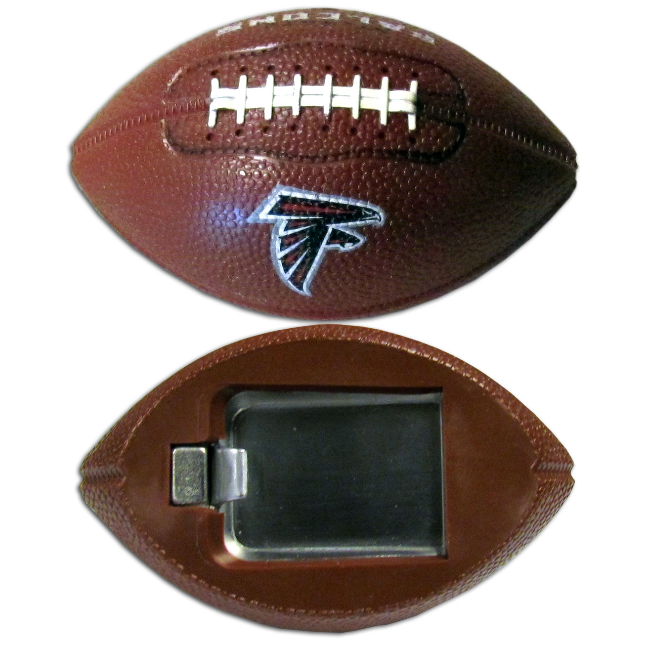 "Atlanta Falcons Bottle Opener Magnet - Our footballer Atlanta Falcons bottle opener magnets are 3.5"" 3D football magnets with bottle openers. The football replica magnets keep a bottle opener in handy while showing off your team pride! Officially licensed NFL product Licensee: Siskiyou Buckle .com"