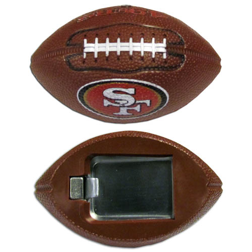 "San Francisco 49ers Bottle Opener Magnet - Our footballer San Francisco 49ers bottle opener magnets are 3.5"" 3D football magnets with bottle openers. The football replica magnets keep a bottle opener in handy while showing off your team pride! Officially licensed NFL product Licensee: Siskiyou Buckle .com"