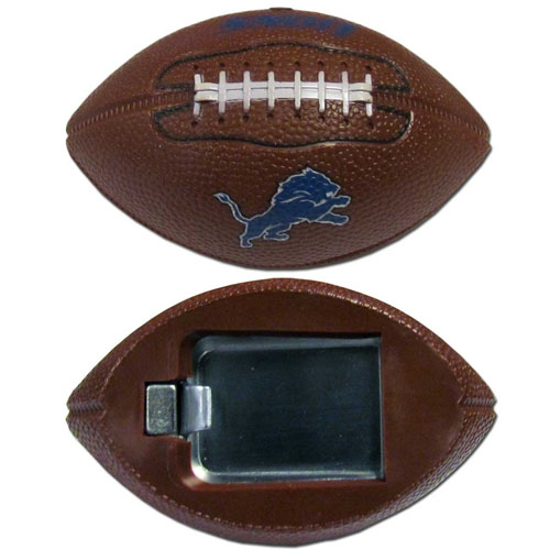 "Detroit Lions Bottle Opener Magnet - Our footballer Detroit Lions bottle opener magnets are 3.5"" 3D football magnets with bottle openers. The football replica magnets keep a bottle opener in handy while showing off your team pride! Officially licensed NFL product Licensee: Siskiyou Buckle .com"