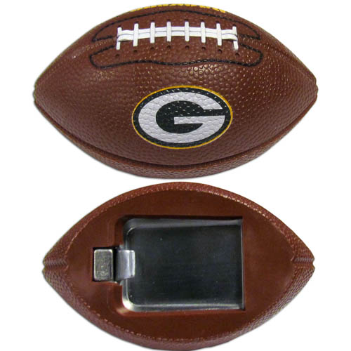 "Green Bay Packers Bottle Opener Magnet - Our footballer Green Bay Packers bottle opener magnets are 3.5"" 3D football magnets with bottle openers. The football replica magnets keep a bottle opener in handy while showing off your team pride! Officially licensed NFL product Licensee: Siskiyou Buckle .com"