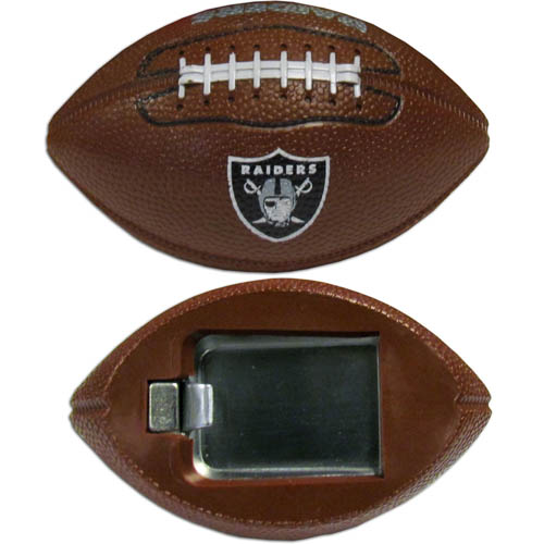 "Oakland Raiders Bottle Opener Magnet - Our footballer Oakland Raiders bottle opener magnets are 3.5"" 3D football magnets with bottle openers. The football replica magnets keep a bottle opener in handy while showing off your team pride! Officially licensed NFL product Licensee: Siskiyou Buckle Thank you for visiting CrazedOutSports.com"