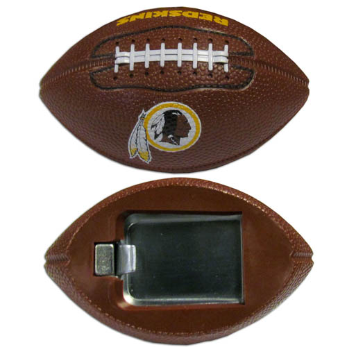 "Washington Redskins Bottle Opener Magnet - Our footballer Washington Redskins bottle opener magnets are 3.5"" 3D football magnets with bottle openers. The football replica magnets keep a bottle opener in handy while showing off your team pride! Officially licensed NFL product Licensee: Siskiyou Buckle Thank you for visiting CrazedOutSports.com"
