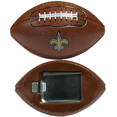"New Orleans Saints Bottle Opener Magnet - Our footballer New Orleans Saints bottle opener magnets are 3.5"" 3D football magnets with bottle openers. The football replica magnets keep a bottle opener in handy while showing off your team pride! Officially licensed NFL product Licensee: Siskiyou Buckle .com"