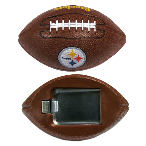 "Pittsburgh Steelers Bottle Opener Magnet - Our footballer Pittsburgh Steelers bottle opener magnets are 3.5"" 3D football magnets with bottle openers. The football replica magnets keep a bottle opener in handy while showing off your team pride! Officially licensed NFL product Licensee: Siskiyou Buckle .com"