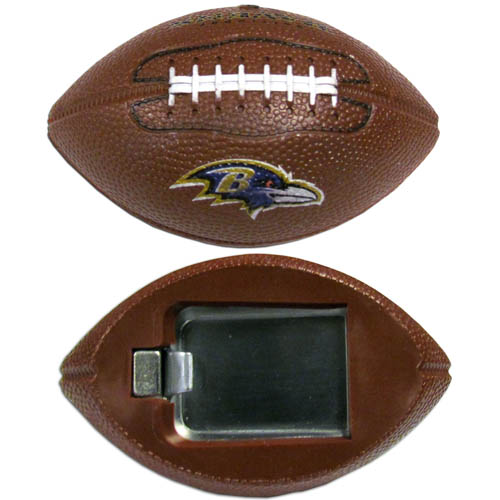"Baltimore Ravens Bottle Opener Magnet - Our footballer Baltimore Ravens bottle opener magnets are 3.5"" 3D football magnets with bottle openers. The football replica magnets keep a bottle opener in handy while showing off your team pride! Officially licensed NFL product Licensee: Siskiyou Buckle .com"
