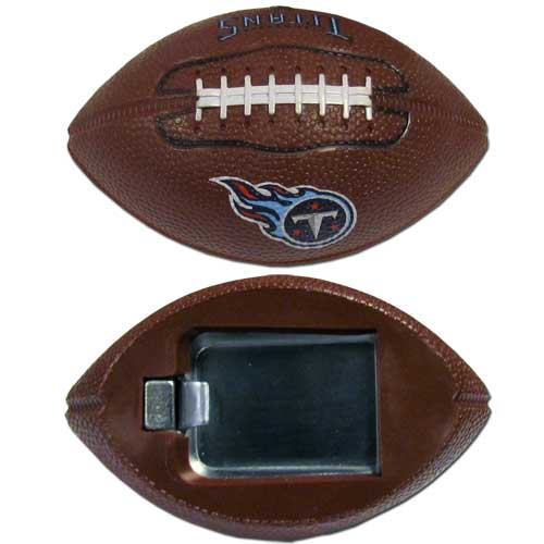 "Tennessee Titans Bottle Opener Magnet - Our footballer Tennessee Titans bottle opener magnets are 3.5"" 3D football magnets with bottle openers. The football replica magnets keep a bottle opener in handy while showing off your team pride! Officially licensed NFL product Licensee: Siskiyou Buckle .com"