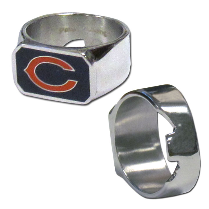 Chicago Bears Steel Ring - This unique ring is made of 316L stainless steel and features a fully cast and enameled Chicago Bears logo. In addition to the attractive look of this ring it also includes a functional bottle opener feature.