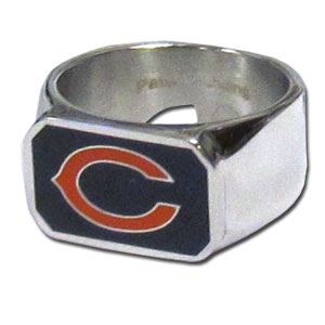 Chicago Bears Bottle opener Steel Ring  - This unique Chicago Bears Bottle Opener Steel Ring is made of 316L stainless steel and features a fully cast and enameled Chicago Bears logo. In addition to the attractive look of this Chicago Bears Bottle opener Steel Ring it also includes a functional bottle opener feature. Officially licensed NFL product Licensee: Siskiyou Buckle .com
