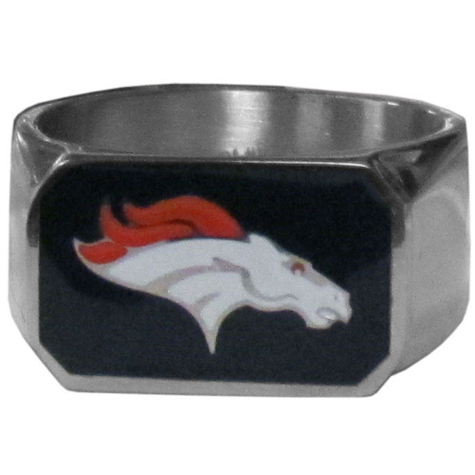 Denver Broncos Steel Ring - This unique ring is made of 316L stainless steel and features a fully cast and enameled Denver Broncos logo. In addition to the attractive look of this ring it also includes a functional bottle opener feature.