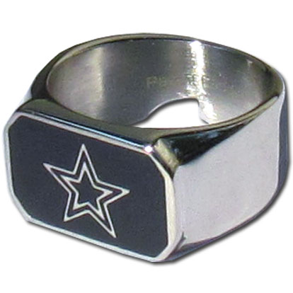 Dallas Cowboys Steel Ring - This unique Dallas Cowboys Steel Ring is made of 316L stainless steel and features a fully cast and enameled Dallas Cowboys team logo. In addition to the attractive look of this Dallas Cowboys Steel Ring it also includes a functional bottle opener feature. Officially licensed NFL product Licensee: Siskiyou Buckle Thank you for visiting CrazedOutSports.com