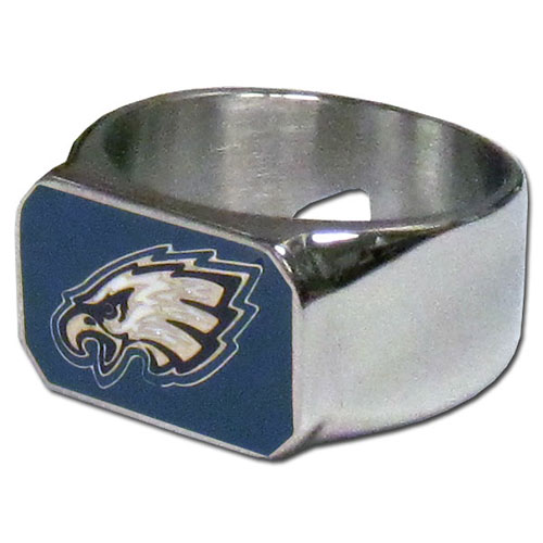Philadelphia Eagles Steel Ring - This unique ring is made of 316L stainless steel and features a fully cast and enameled Philadelphia Eagles logo. In addition to the attractive look of this ring it also includes a functional bottle opener feature.