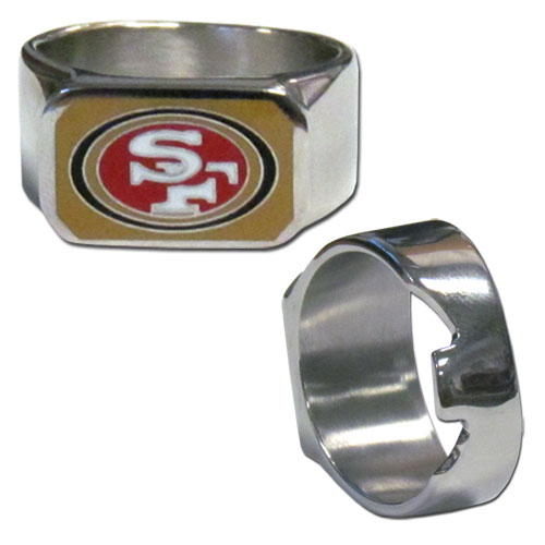 San Francisco 49ers Steel Ring - This unique ring is made of 316L stainless steel and features a fully cast and enameled San Francisco 49ers logo. In addition to the attractive look of this ring it also includes a functional bottle opener feature.